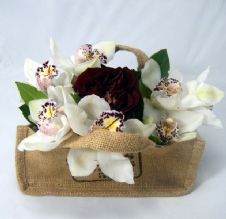 Cymbidium Orchids and a rose in a sack / Ορχιδέες συμπίντιουμ και ένα τριαντάφυλλο σε τσουβάλι